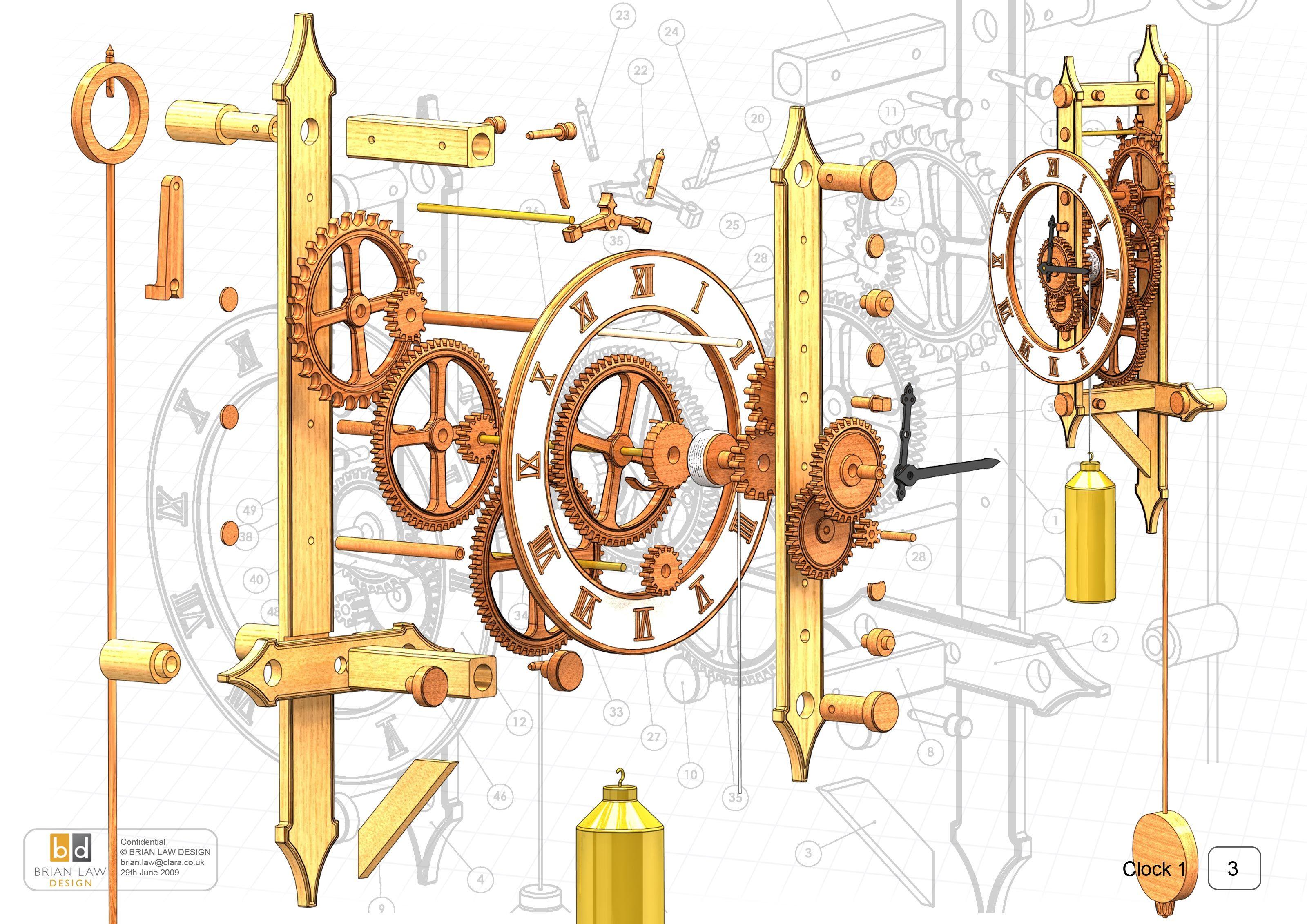 wooden clock | Wooden Gear Clock Plans Free Dxf