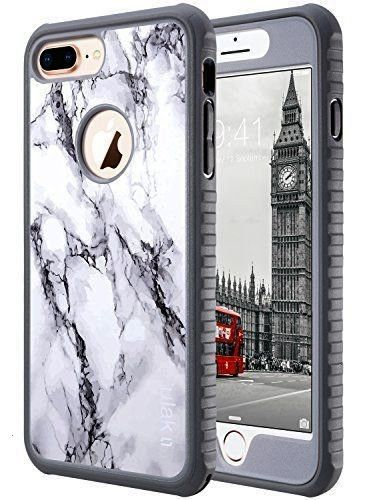 iPhone 8 Plus Case iPhone 8 Plus Case Marble Heavy Duty Shockproof Flexible TPU Bumper Durable AntiSlip Lightweight Front and Back Hard Protective Safe Grip Cover for App...