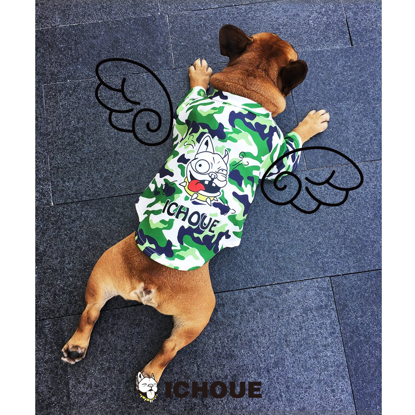 iChoue Pet Dogs Clothes TShirt French Bulldog Camouflage
