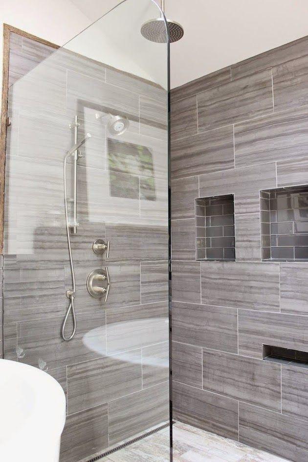 Gray tile shower with niche for shaving legs sherry for Grey tile bathroom ideas