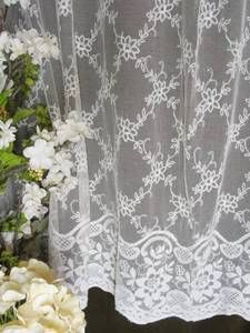 Large Antique French Net Lace Curtain 63 X 75 Tulle Embroidered