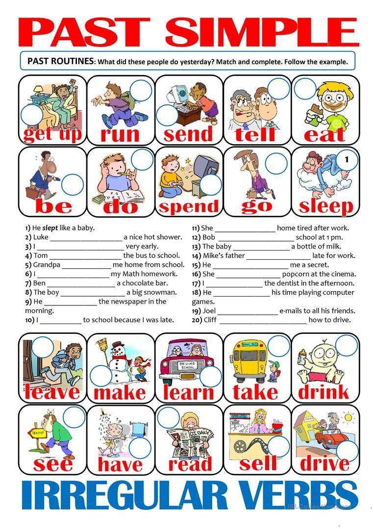 Past Simple Irregular Verbs Past Routines Licoes De Gramatica Aulas De Ingles Aulas De Ingles Para Criancas [ 1079 x 763 Pixel ]