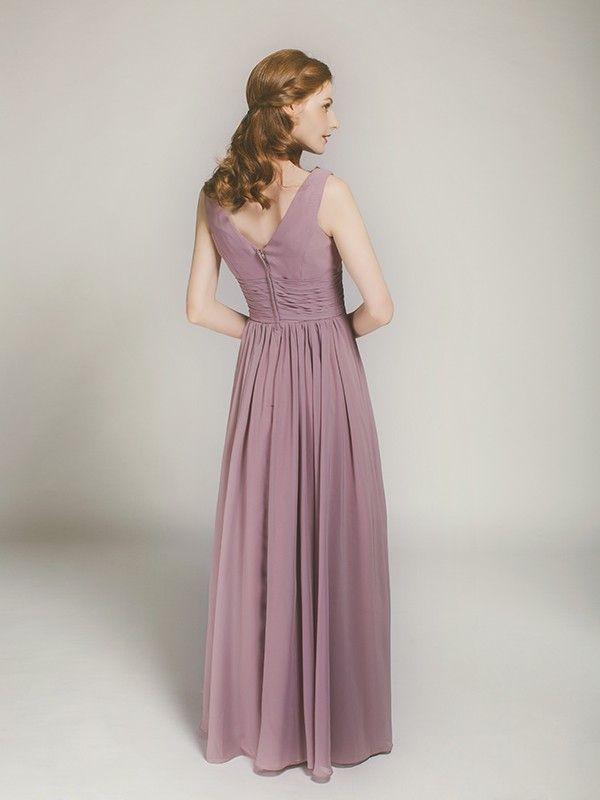 Long V Neck Chiffon Bridesmaid Dress In Mauve Swbd006 Bridesmaid