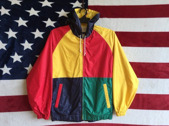 5359d2b3b491 Vintage 80s Colour Block Jacket Zip Up Colourful Jacket Cross Colour Zipper  Jacket Checkered Jacket