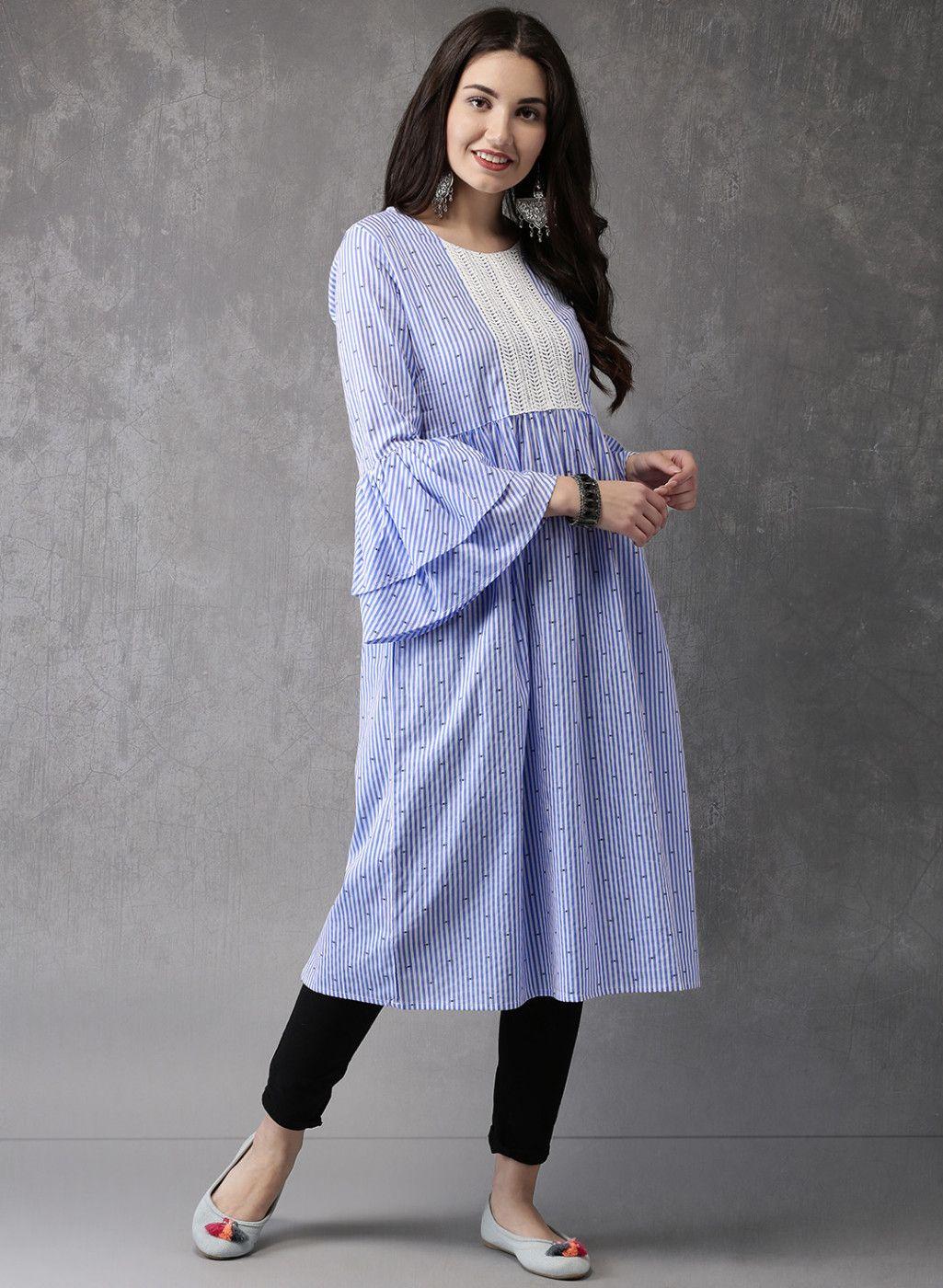 1d09e6d9783bd Anouk Blue Striped Cotton Kurta  Blue  Striped  Cotton  Kurta
