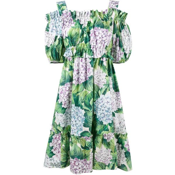f721926e6fef Dolce   Gabbana hydrangea print cold shoulder dress featuring polyvore  women s fashion clothing dresses green flower dress green dress ruffled  dresses short ...