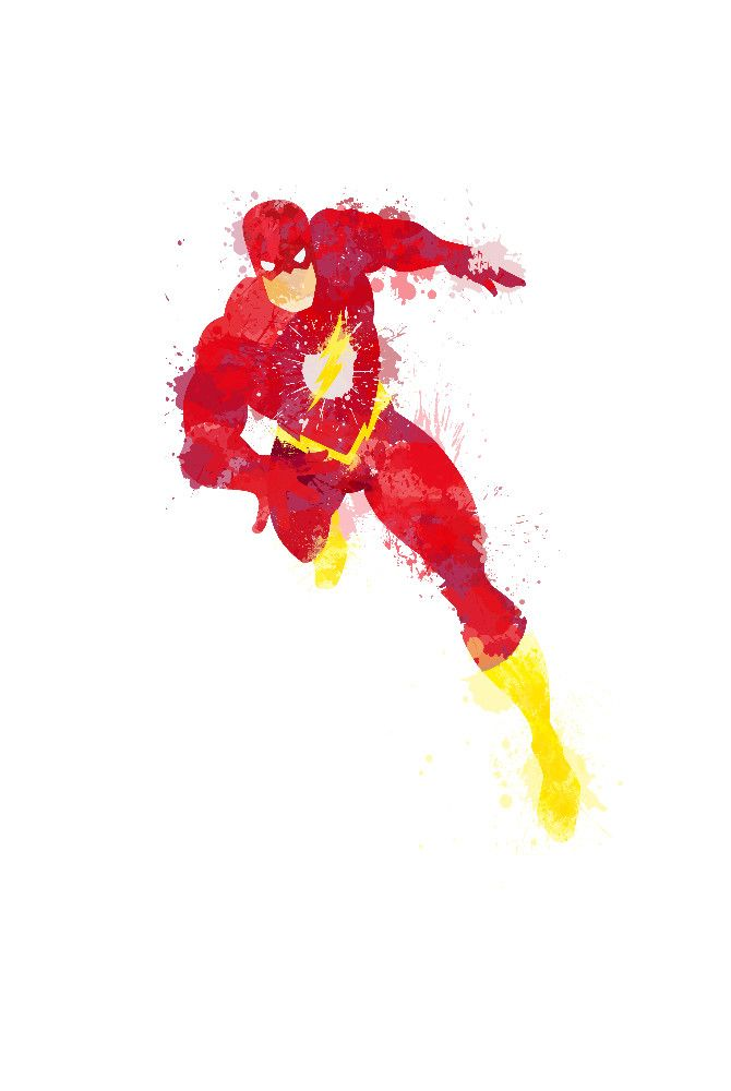 The Flash - Digital paint, water colour style, Ink splatter