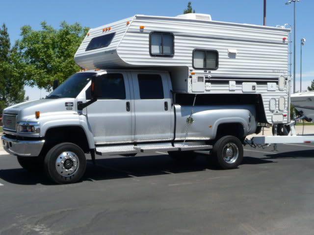 Gmc C4500 4x4 Crew Cab Dually Pickup With Kodiak Cab Over Camper Slide In Camper Truck Camper Kodiak
