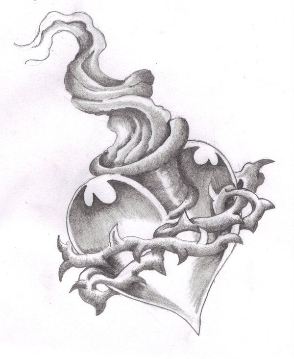 Drawings Of Tattoo Designs Love Sacred Heart In Pencil By Love