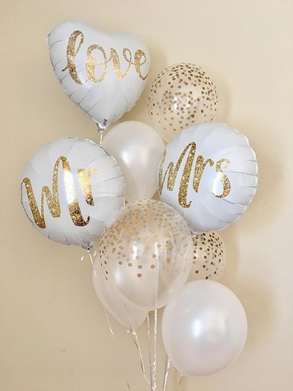 Mr and Mrs BalloonsGold Confetti Look BalloonsWedding | Etsy