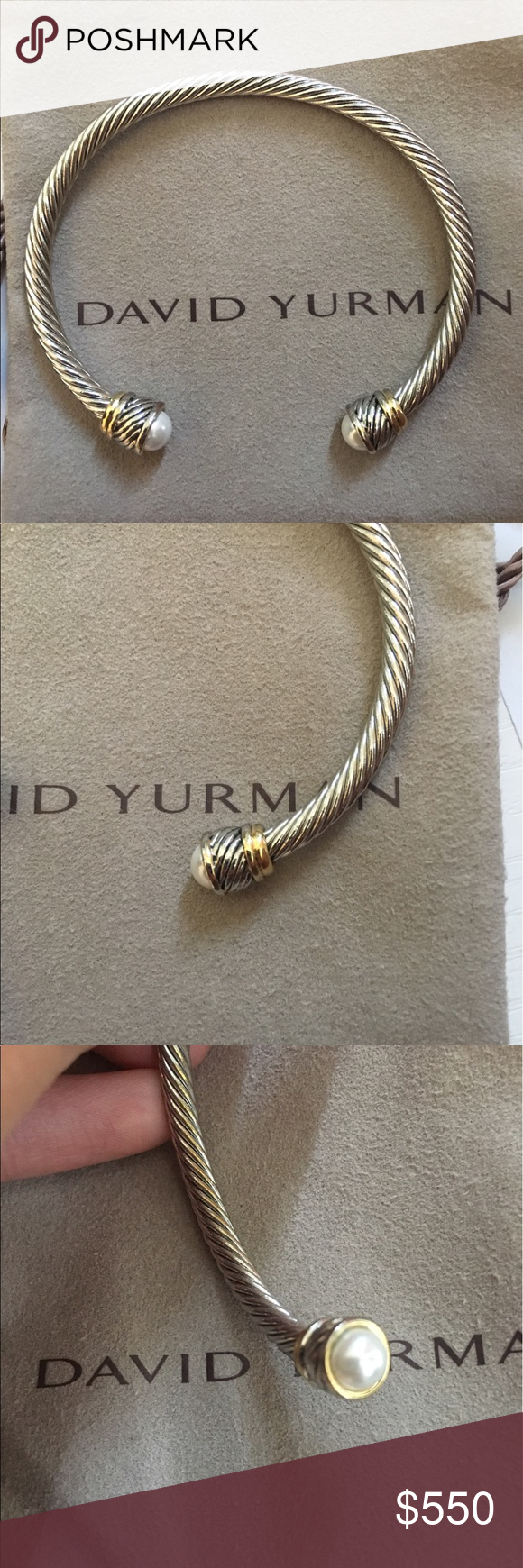 David Yurman Replica Cable Bracelet Silver With Gold Accent And