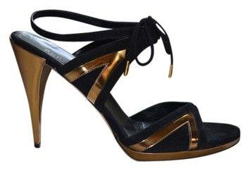 Gucci Suede Metallic Leather Black With Gold Trim Black/Gold Metallic Sandals $200