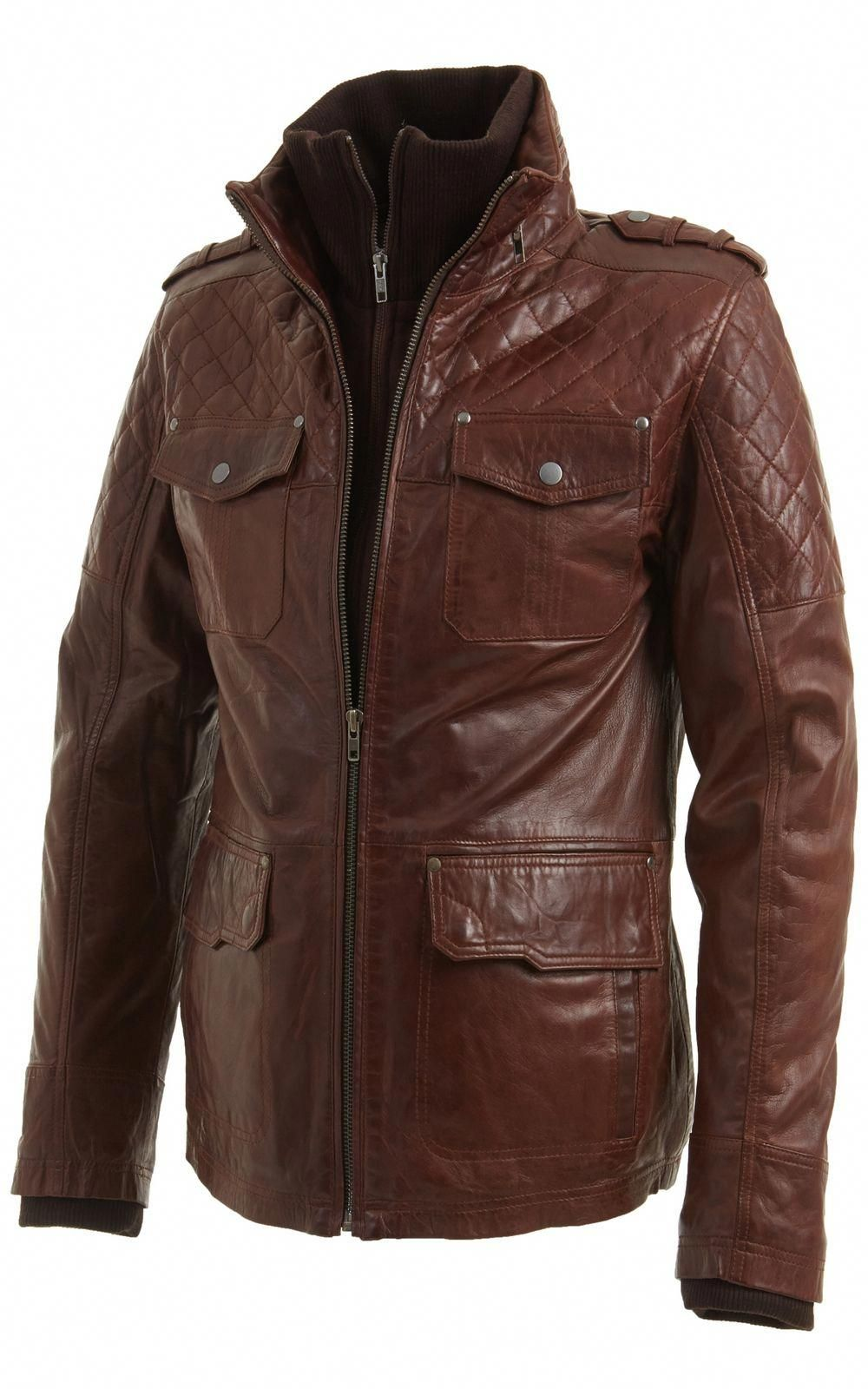 Mens Vintage Brown Leather Biker Jacket In Sizes S To 5xl Also Available In Black Leatherjac Leather Jacket Cool Jackets For Men Mens Leather Jacket Vintage [ 1600 x 1000 Pixel ]