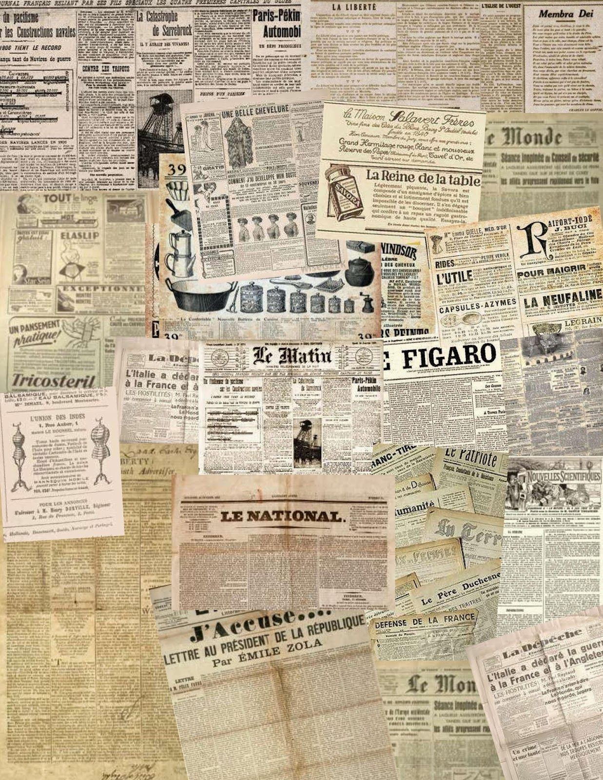 These collage sheets of old newspapers, which might be useful for attic wallpaper, lining trunks, suitcases and old cupboards (and probably ...