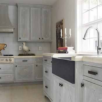 Beautiful Distressed Gray Kitchen Cabinets With Oil Rubbed Bronze Hardware