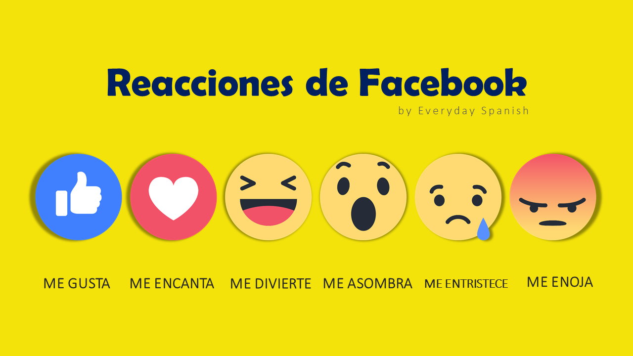 Facebook Reactions In Spanish Spanish Vocabulary Spanish Lessons Vocabulary