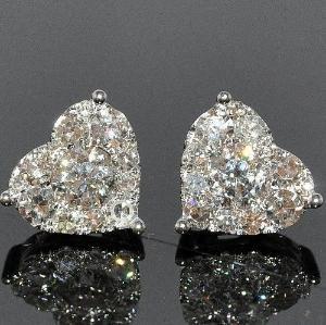 Diamond Heart Earring Solitaire 1 75ctw 14k White Gold By Julekinz Chanel Costume Jewelrychanel