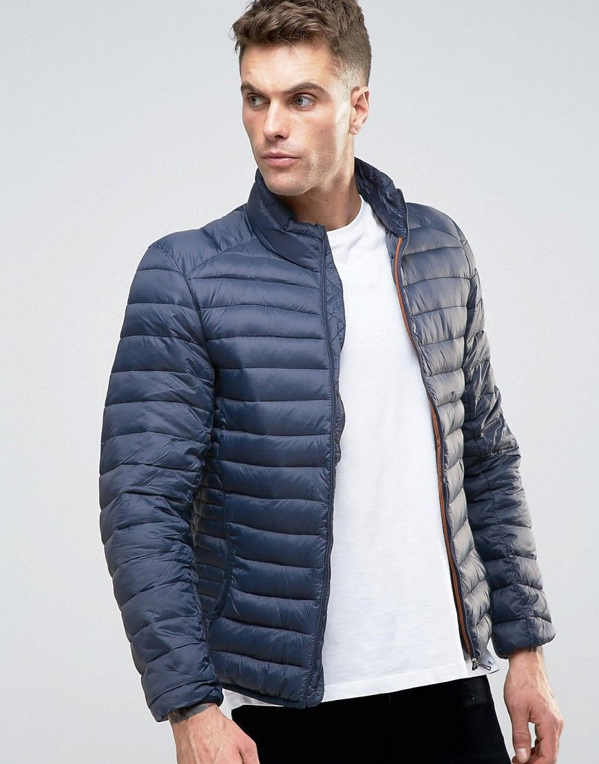 80b58b7d888c0 Pull&Bear Quilted Jacket In Navy - Navy: Jacket by Pull Bear, Lightweight  woven fabric, Quilted design, Funnel neck, Zip opening, ...