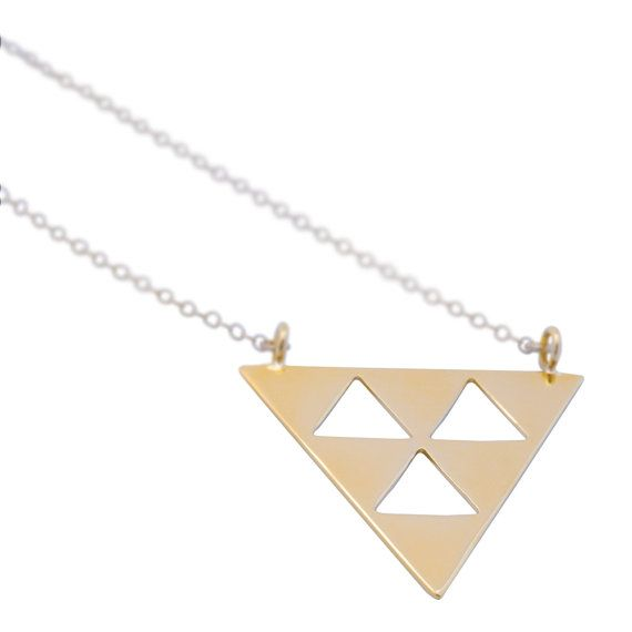 Triangle Necklace - Geometric Necklace, Triangle pendant, Gold triangle necklace, Silver triangle necklace. This beautiful & unique Upside down triangle necklace is available in high quality 24K gold plating over brass and 925 sterling silver. #TriangleNecklace #GeometricNecklace  #jewelry #xmasgift #giftforher #christmasgift