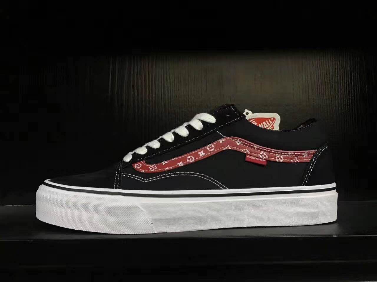 Supreme X Vans Old Skool Black White Red Skate Shoes #Vans