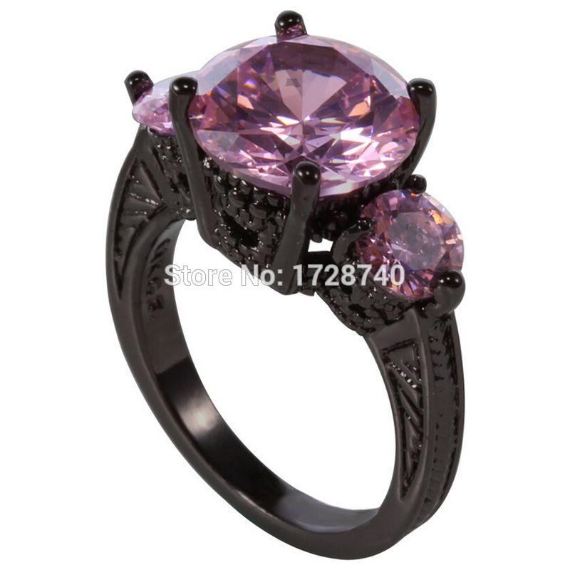 Round Cut ThreeStone Pink CZ Black Gold Filled Womens Ring Size