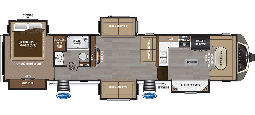 montana 3950br. mid-bunk floor plan. office & bunk. 41' - no os