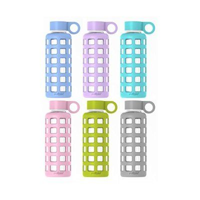 해외  (신디클럽)Purifyou purifyou Premium Glass Water Bottle with Silicone Sleeve   Stainless Steel