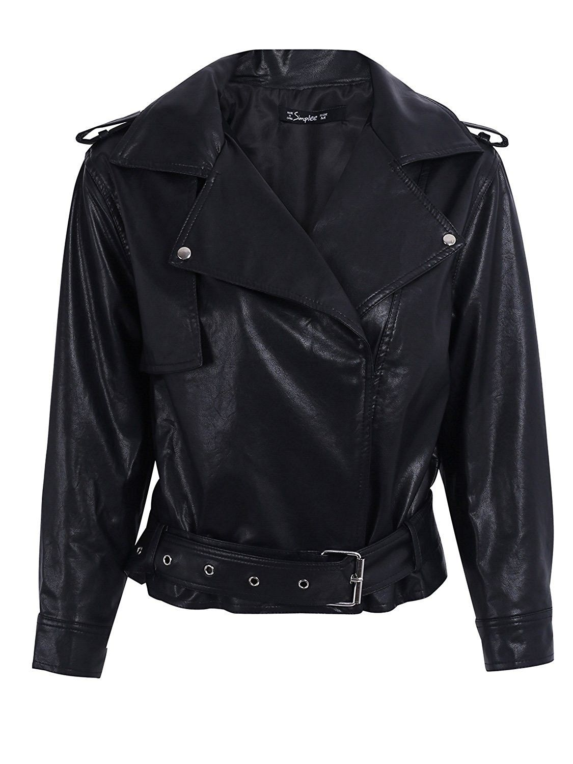 Simplee Women S Casual Loose 3 4 Sleeve Oversized Faux Leather Pu Jacket Coat Black C91869gq4o Faux Leather Jacket Women Leather Jacket Leather Coat Womens [ 1500 x 1125 Pixel ]
