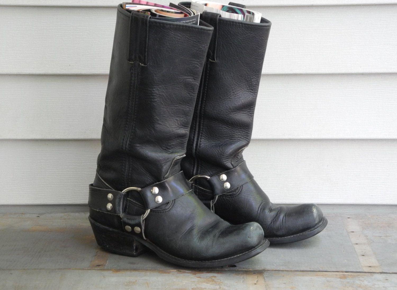 Womens Frye Veronica Criss Cross Tall Boots Black Calf Shine Vintage ZYH75658