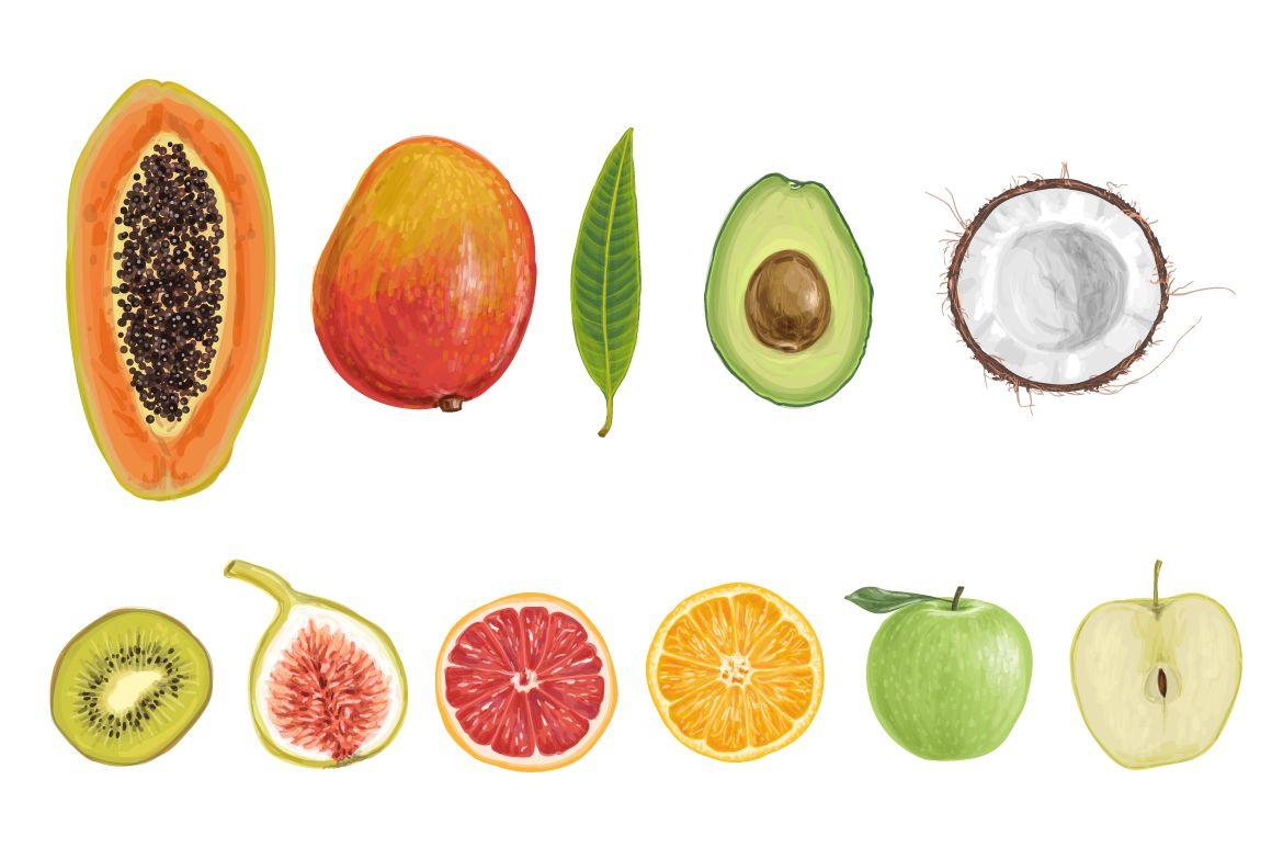 Tasty fruit illustrations apple, apricot, avocado