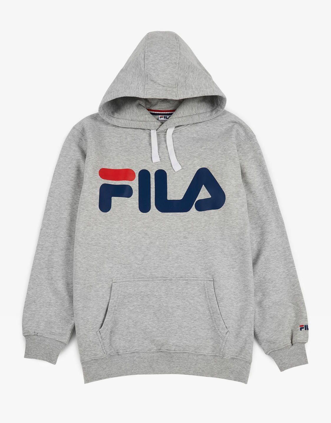 Details about Fila Men's Logo Fleece Pullover Hoodie Size XL Grey Black White