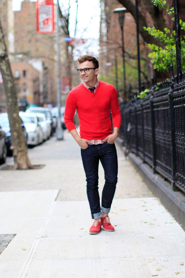 Red Shoes Red And Picture Shorts Black Shirt And Black Socks And Red