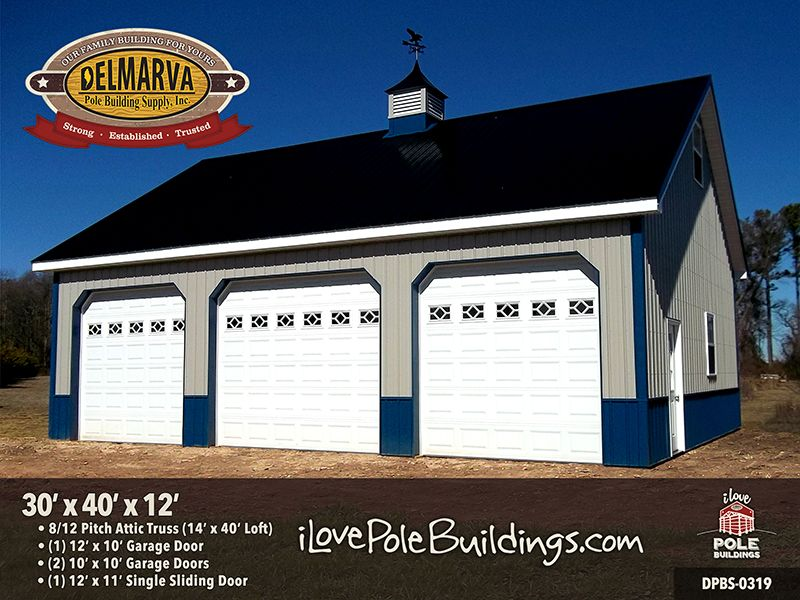 Dpbs 0319 30 X 40 X 12 Pole Buildings Carriage House Garage Pole Barn Garage