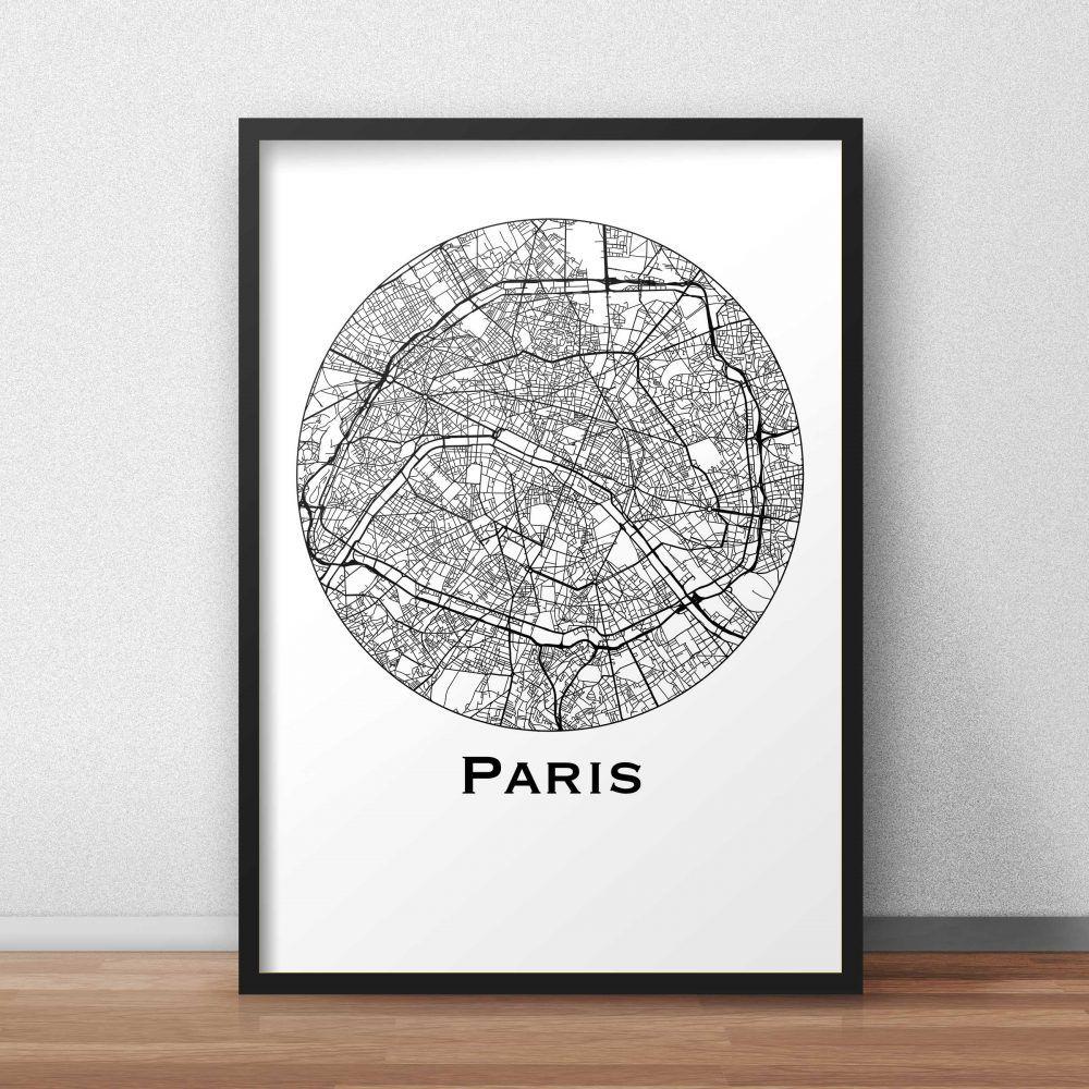 Affiche Paris Minimalist Map deco poster citymap