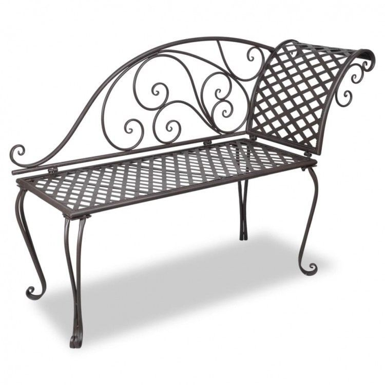 Details About Metal Garden Chaise Lounge Antique Brown Patio
