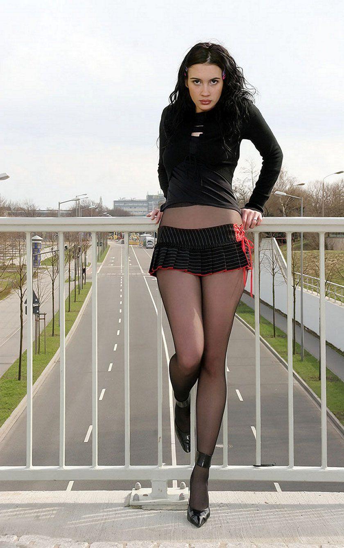 Pantyhose skirts heels