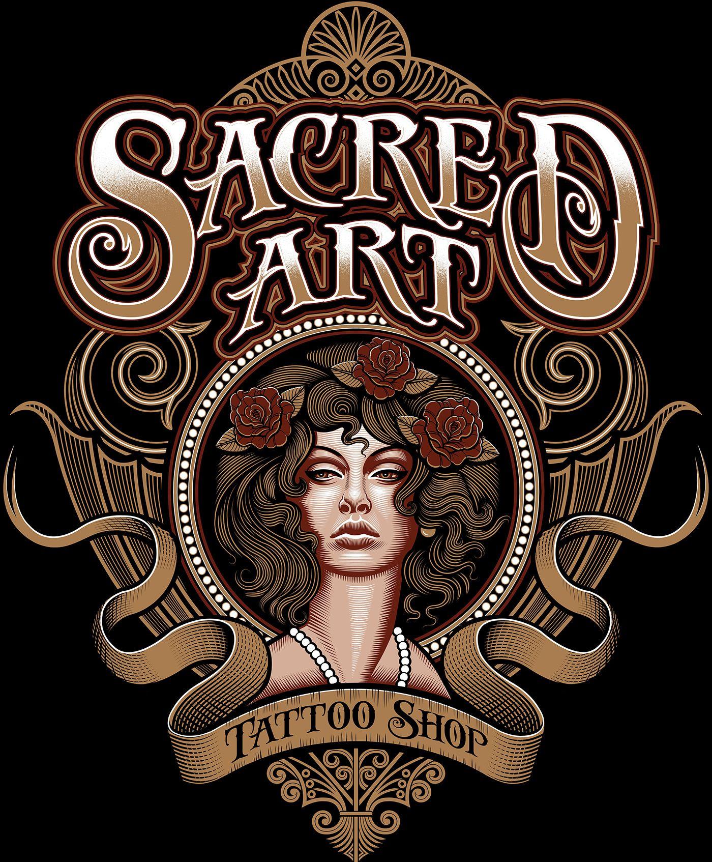 Sacred art tattoo shop logo on behance tattoo shop