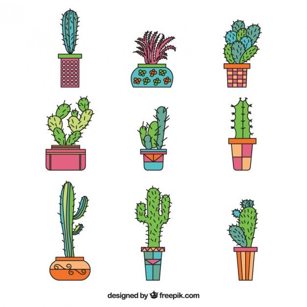 Colección de cactus dibujados a mano Vector Premium   Cute cartoons ...