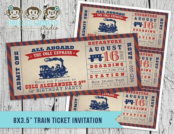 Vintage Train Ticket Invitation by Three Little Monkeys Studio