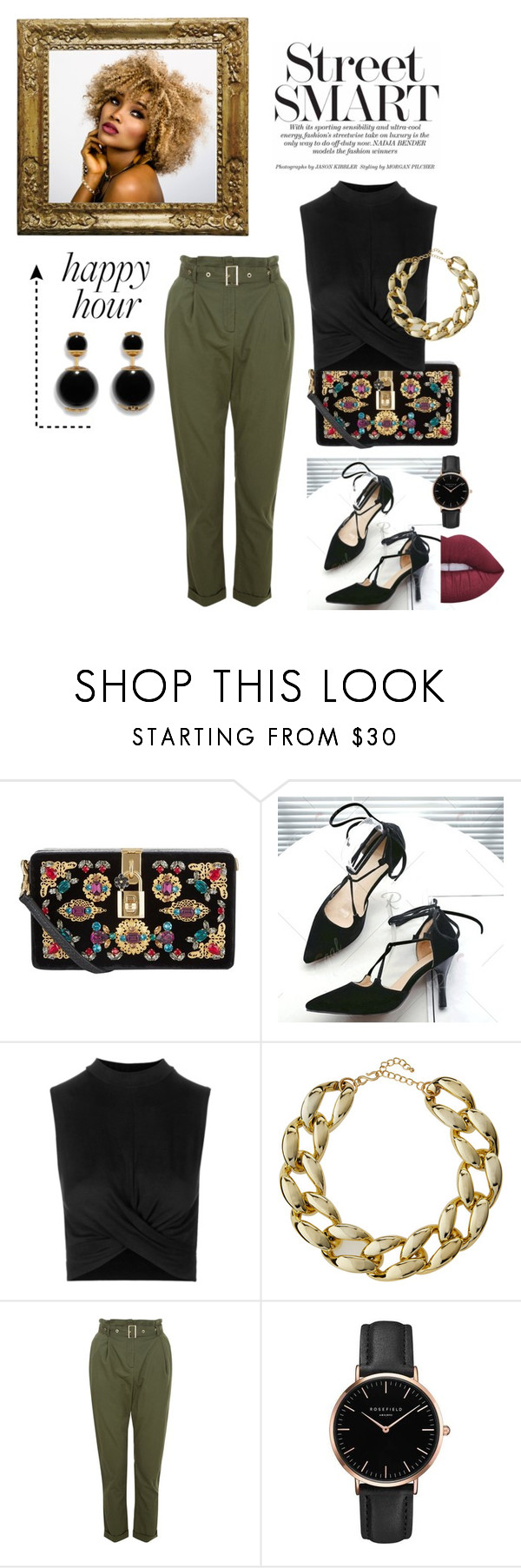 """Street smart"" by yessyzc on Polyvore featuring moda, Dolce&Gabbana, Topshop, Kenneth Jay Lane y Lime Crime"