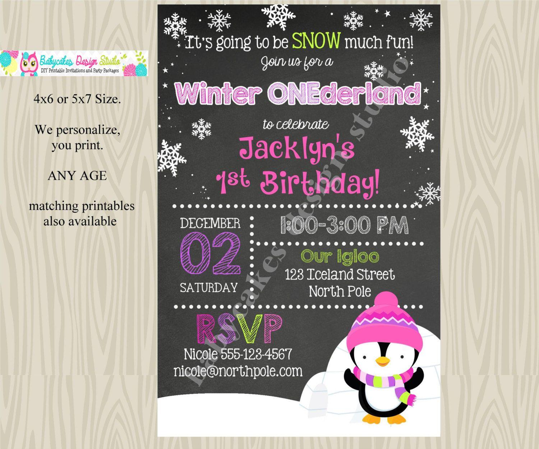 Winter Onederland invitation invite 1st birthday invitation girl ...