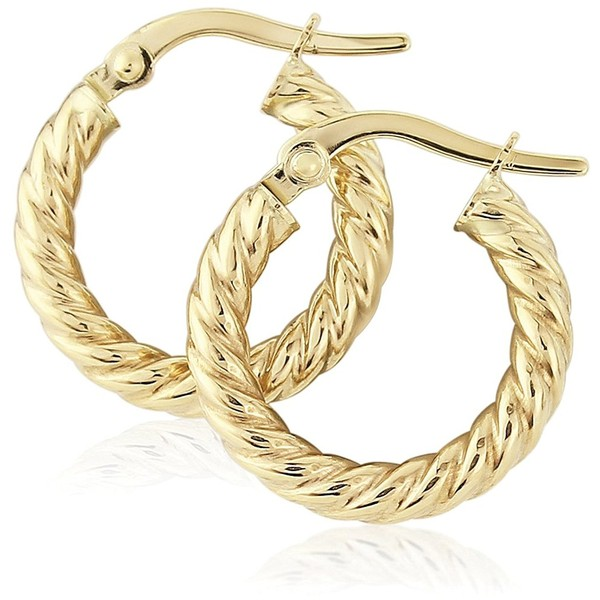 Jewelco London La s 9ct Yellow Gold Rope Twisted Round Hoop
