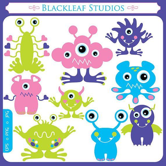Cute Monsters Clipart Set Digital Download Images Scrapbook