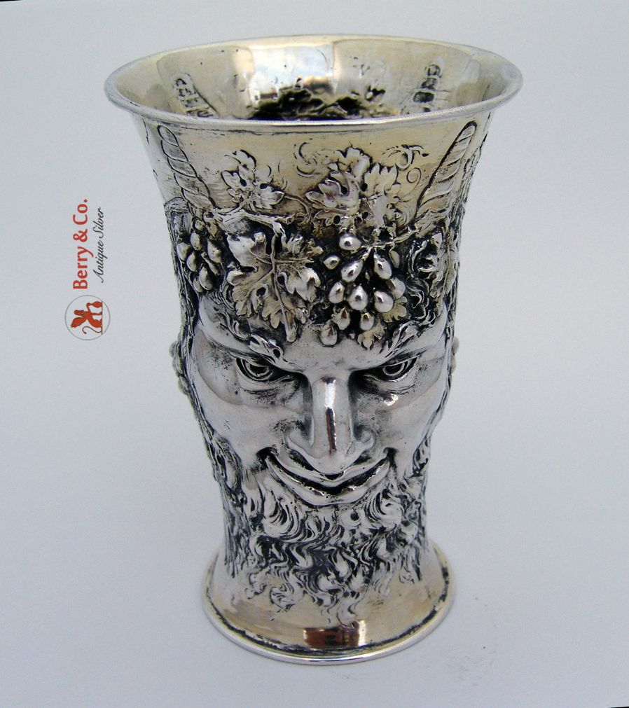 Bacchus God Of Wine Figural Beaker 800 Silver 1890 Antique