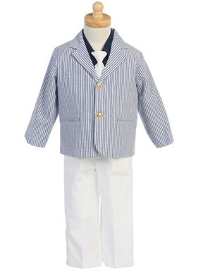 fbe31010657f Boy s Navy and White Seersucker Suit Size 2T-Youth 7