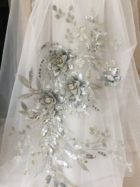 13 Colors Delicate 3d Rhinestone Beaded Flower Lace Applique In