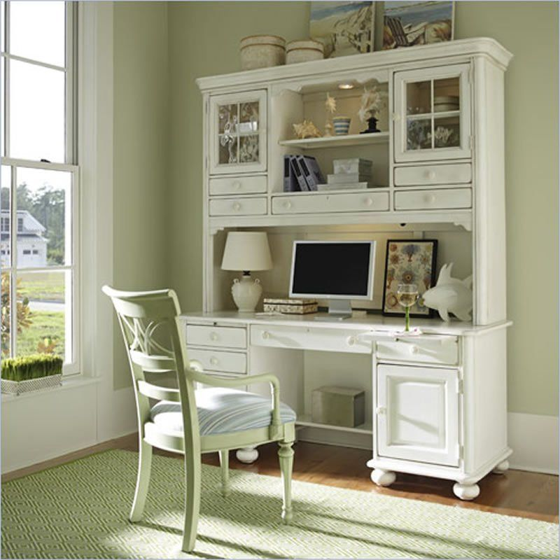 Stanley Coastal Living Wood Computer Desk Hutch in Antique White 829 - Stanley Coastal Living Wood Computer Desk Hutch In Antique White 829