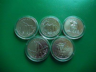 5 x SilbermünzenWildlife Serie KanadaTOP ! Und Seltensparen25