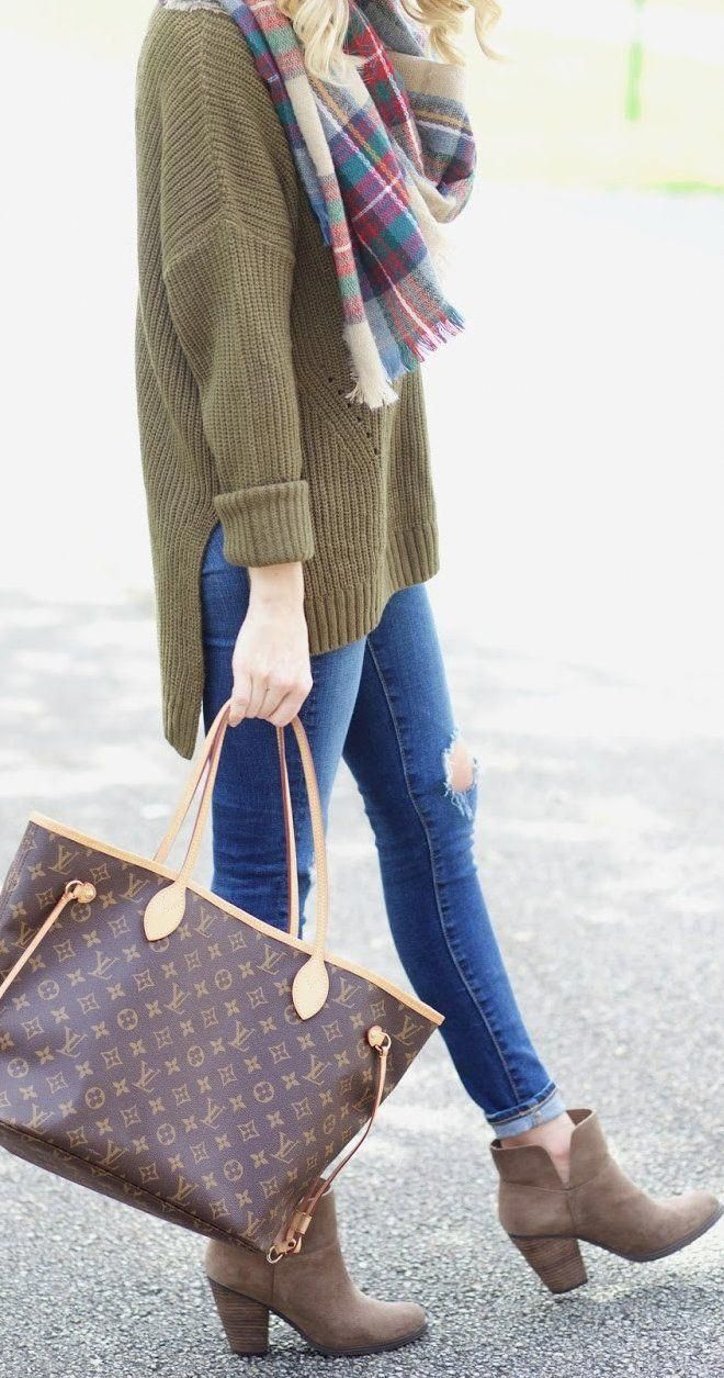 #thanksgiving #fashion · Plaid Scarf // Ripped Skinny Jeans // Louis Vuitton Tote Bag // Suede Ankle Boots // Green Knit #women'sfallfashiontrendssweaters #skinnyjeansandankleboots