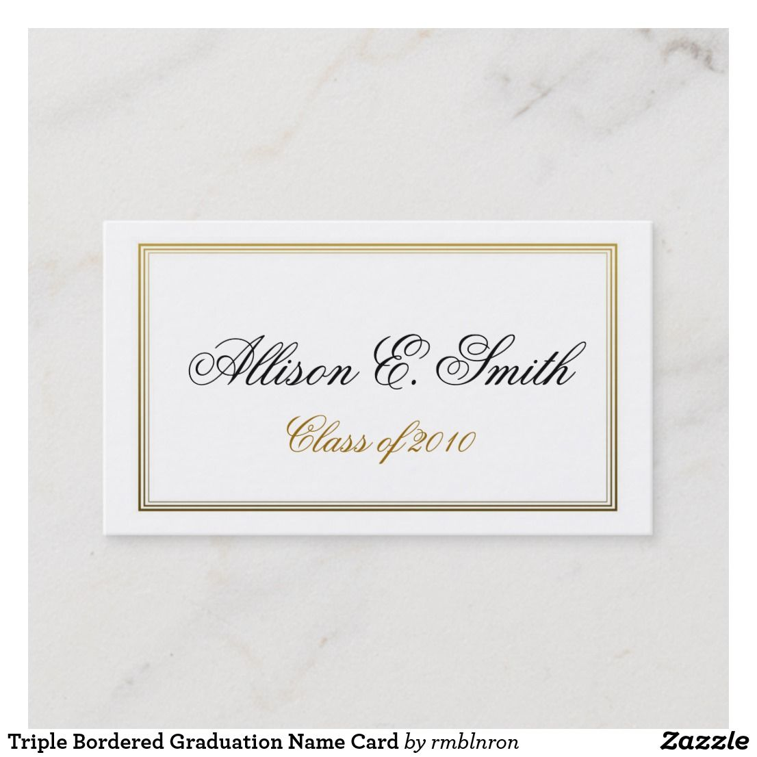 triple bordered graduation name card  zazzle with